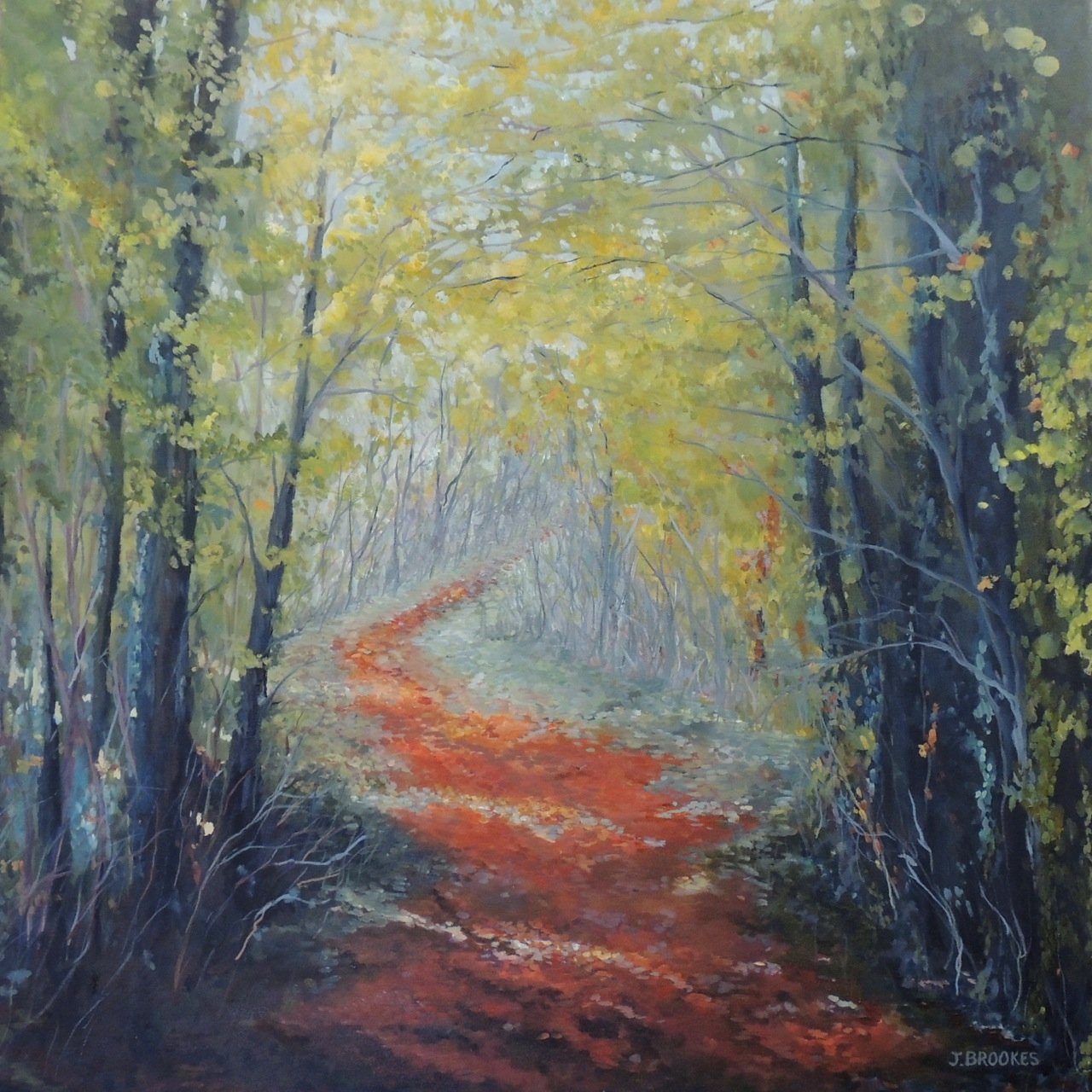 RED PATH 36X36 OIL ON CANVAS