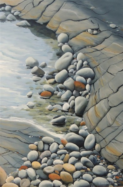 SMOOTH ROCKS IN A TIDAL POOL 30X30