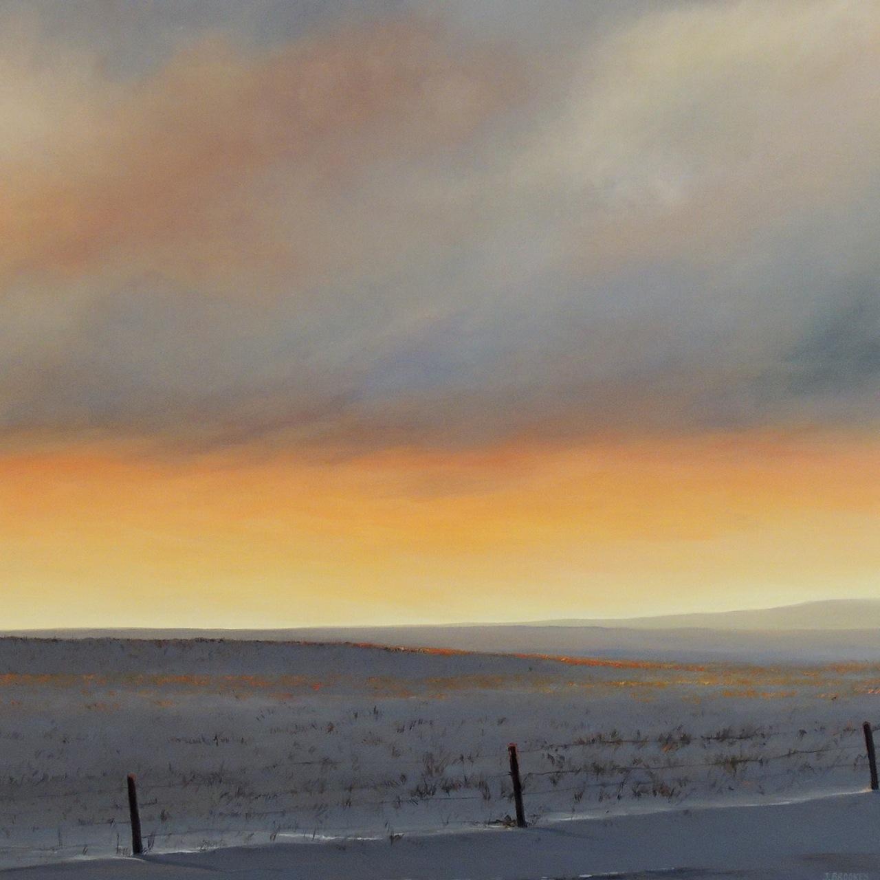 WARM SKIES FROZEN FIELDS 36X36 OIL ON CANVAS - 2014
