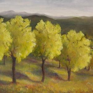 row-of-golden-locust-trees-30x40-1999